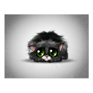 Sad and lonely little kitten with huge green eyes postcard