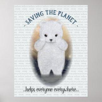 Sad Baby Polar Bear Poster