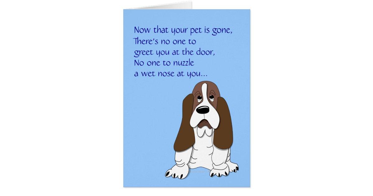 sad basset hound funny dog sympathy loss of pet card