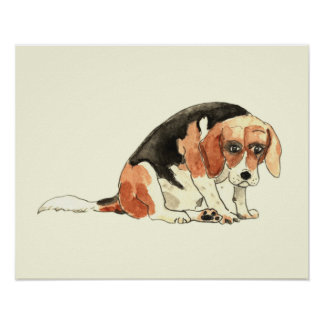 Sad Beagle funny novelty watercolour art poster