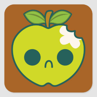 Sad, Bitten Green Apple on a Brown Background Square Sticker