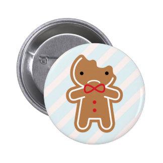 Sad Bitten Kawaii Gingerbread Man Button
