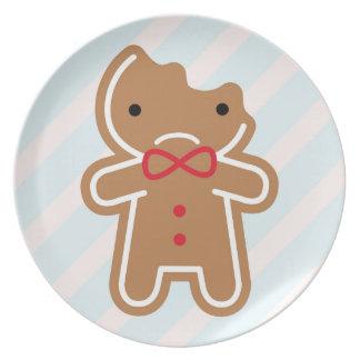 Sad Bitten Kawaii Gingerbread Man Plate