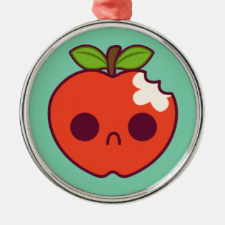 Sad, Bitten Red Apple on a Green Background Metal Ornament