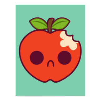 Sad, Bitten Red Apple on a Green Background Postcard