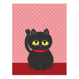 Sad Black Cat Postcard