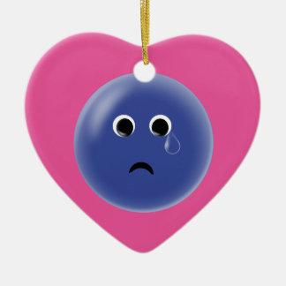 Sad Blue Smiley Ceramic Heart Decoration