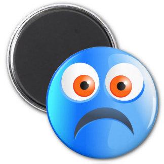 Sad Blue Smilie 2 Inch Round Magnet