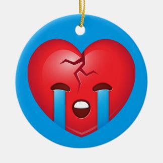 Sad Broken Heart Emoji Ceramic Ornament