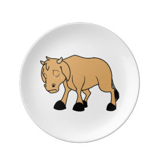 Sad Brown Calf World Vegetarian Day Animal Rights Porcelain Plate