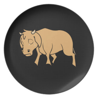 Sad Brown Calf World Vegetarian Day Animal Rights Dinner Plate