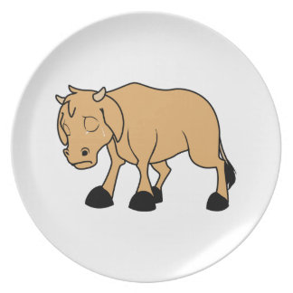 Sad Brown Calf World Vegetarian Day Animal Rights Party Plate