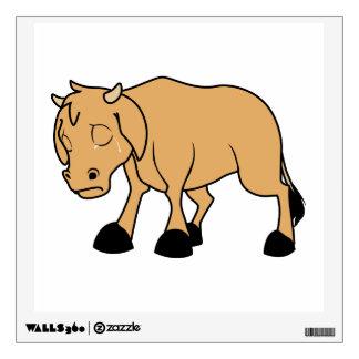 Sad Brown Calf World Vegetarian Day Animal Rights Wall Decal