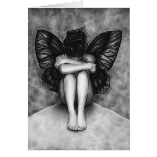 Sad Butterfly Girl Card