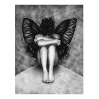 Sad Butterfly Girl Postcard