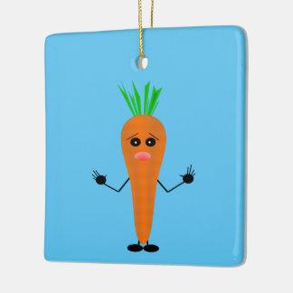 Sad Carrot Ceramic Ornament