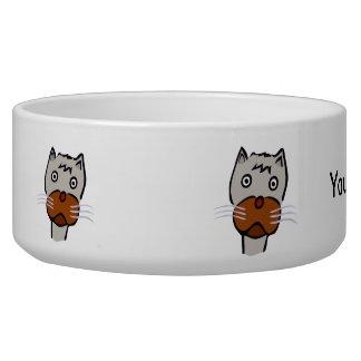 Sad cat cartoon bowl