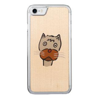 Sad cat cartoon carved iPhone 7 case