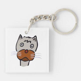 Sad cat cartoon keychain