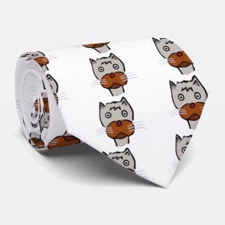 Sad cat cartoon neck tie
