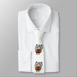 Sad cat cartoon tie