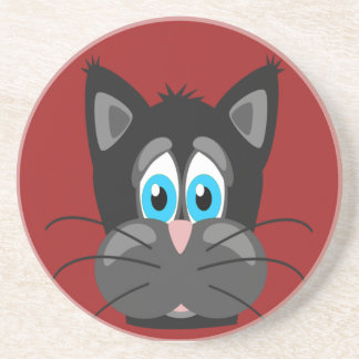 Sad Cat Face on a Red Background Coasters