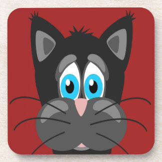 Sad Cat Face on a Red Background Beverage Coasters