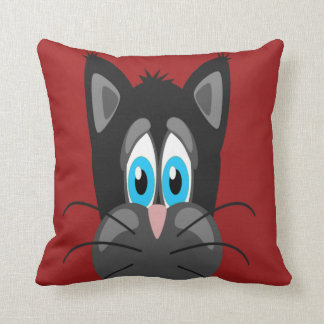 Sad Cat Face on a Red Background Pillow