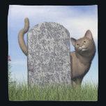 "Sad cat near tombstone bandana<br><div class=""desc"">Sad cat near grey tombstone in the grass</div>"