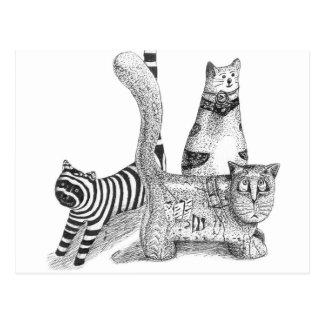 Sad cats postcard