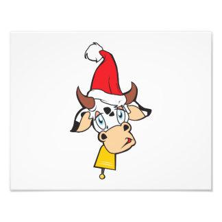 Sad Christmas Cow Santa Hat Bell Greeting Card Pin Photographic Print
