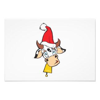 Sad Christmas Cow Santa Hat Bell Greeting Card Pin Photograph
