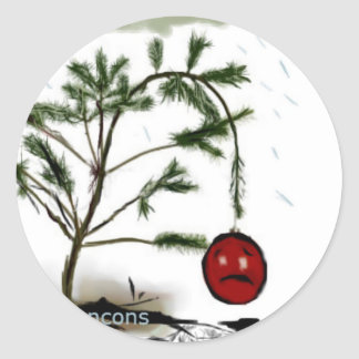 Sad Christmas Tree Classic Round Sticker
