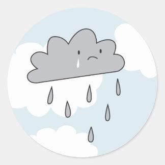 Sad Cloud Classic Round Sticker
