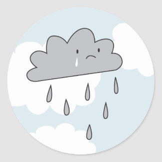 Sad Cloud Round Sticker
