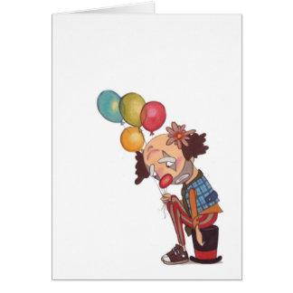 sad clown birthday notecard
