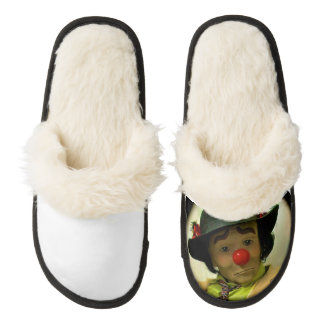 Sad Clown Face Design Women Slippers Pair Of Fuzzy Slippers