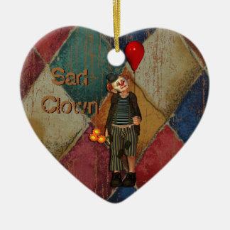Sad Clown Double-Sided Heart Ceramic Christmas Ornament