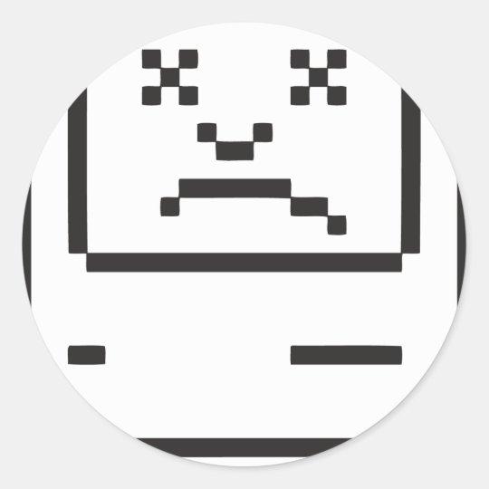 Sad Computer Icon Classic Round Sticker