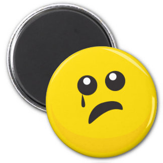 Sad Crying Cute Smiley Face 2 Inch Round Magnet