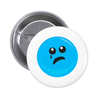 Sad Crying Cute Smiley Face Pinback Button