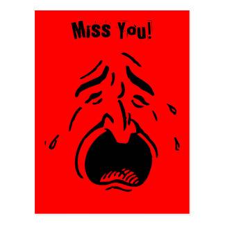 Sad Crying Face I Miss You Postcard