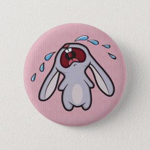 Sad Crying Rabbit   Bawling Bunny Pinback Button