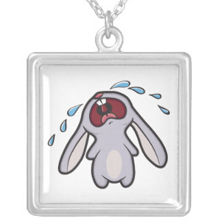 Sad Crying Rabbit Silver Plated Necklace