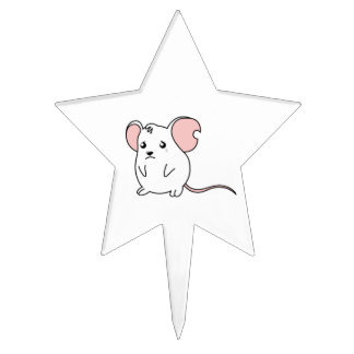 Sad Crying Weeping White Mouse Apron Paper Napkin Cake Pick
