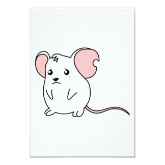 Sad Crying Weeping White Mouse Card Stamp Labels
