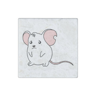 Sad Crying Weeping White Mouse Pillow Button Pin Stone Magnet
