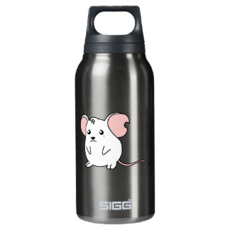 Sad Crying Weeping White Mouse Pillow Button Pin Insulated Water Bottle