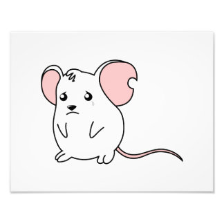 Sad Crying Weeping White Mouse Pillow Button Pin Photo Print