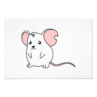 Sad Crying Weeping White Mouse Pillow Button Pin Photograph
